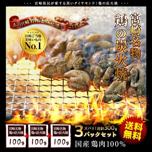 <鶏の炭火焼100g×3パック>宮崎名物 職人が焼いた味 合計たっぷり300g 炭火焼き メール便 送料無料 国産 レトルト 焼き鳥 鶏もも 海と