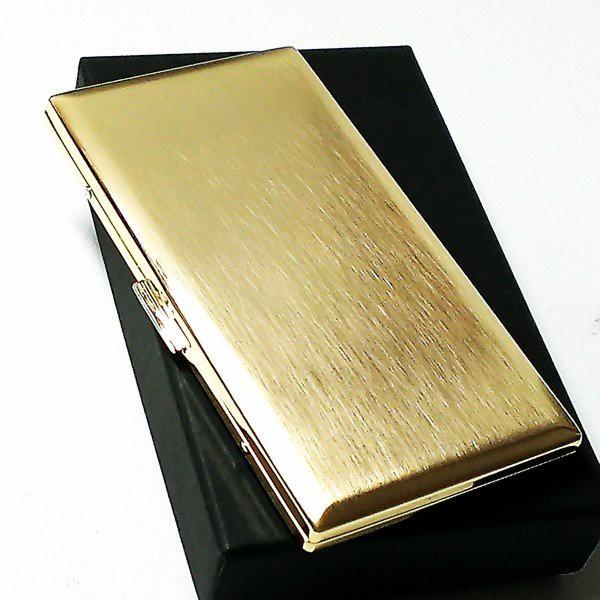 シガレットケース 100mm タバコケース リリースリム ゴールドサテン ロングサイズ対応 薄型モデル メンズ 日本製 真鍮製 かっこいい