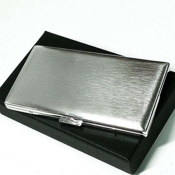 タバコケース 100mm ロング リリースリム シルバーサテン シガレットケース 潰れない たばこケース 日本製 坪田パール 真鍮製 かっこいい