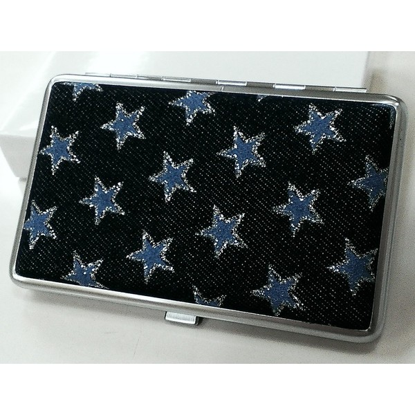 シガレットケース かわいい ブルースター デニム生地貼り タバコケース 可愛い たばこケース ロング対応 コンパクト メンズ レディース