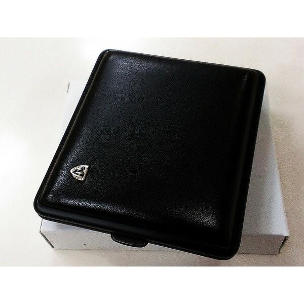 タバコケース ドイツSTOLL社製 シガレットケース ブラックレザー&ブラックフレーム 黒 18本収納 おしゃれ メンズ プレゼント