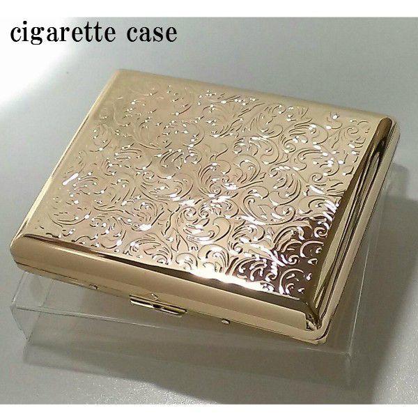 シガレットケース レディース ゴールド アラベスク 20本 タバコケース ロング 可愛い たばこケース 金 潰れない ギフト