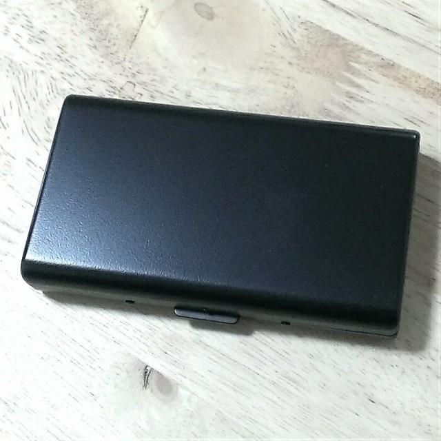 シガレットケース 14本 ロング タバコケース マットブラック 100mm 艶消し 黒 コンパクト シンプル 頑丈 たばこケース メンズ