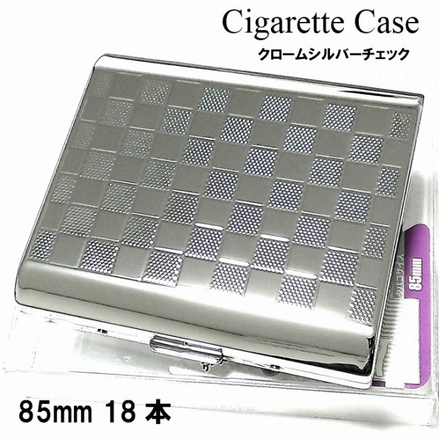 シガレットケース 18本 収納 タバコケース チェック柄 たばこケース シルバー 頑丈 メタルケース メンズ レディース