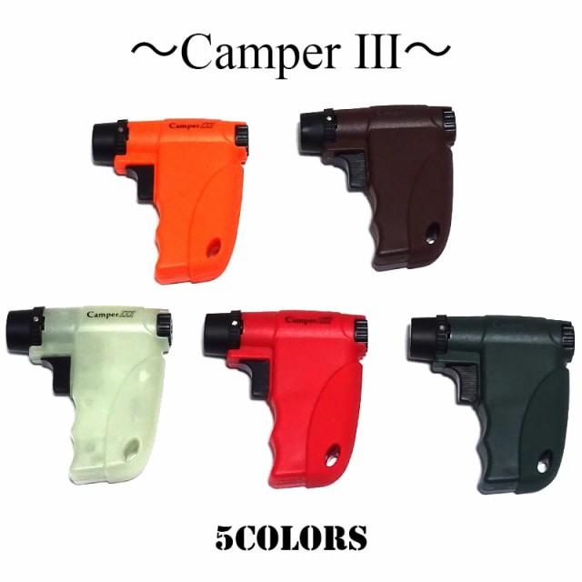 ガスライター キャンパー 5カラー ブラック オレンジ 蓄光 レッド バーガンディ 面白 ライター 珍しい 日本製 バーナーフレーム ギフト
