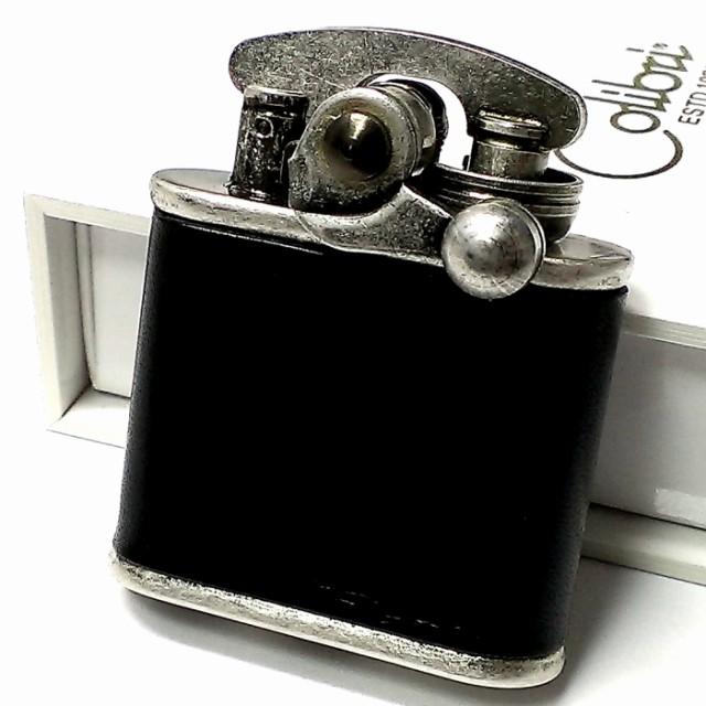 オイルライター Colibri コリブリ 本革巻き 黒 ブラック アンティークシルバー レトロ ニッケルバレル フリント ライター かっこいい ブ