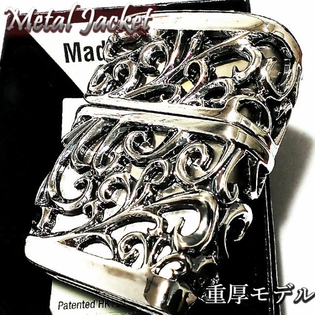 ZIPPO ライター メタルジャケット 超重厚 デビル シルバーイブシ 豪華 ジッポ 彫刻デザイン 4面加工 銀 メンズ アクセサリー かっこいい