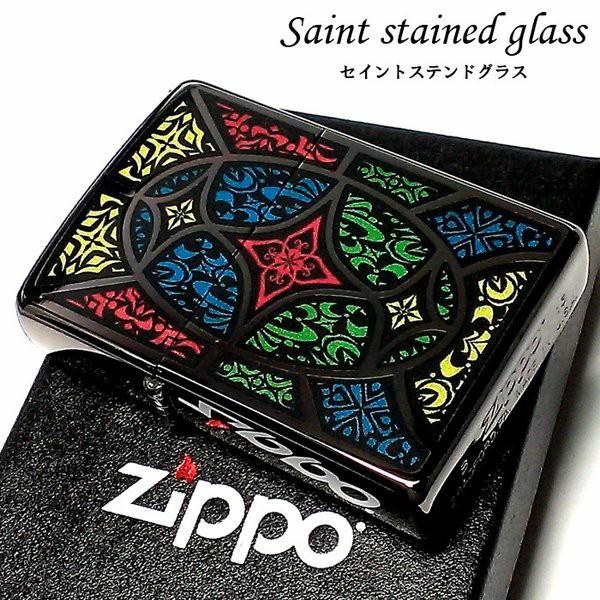 ZIPPO ライター セイント ステンドグラス ジッポ ブラック 黒ニッケル 研ぎ出しエポキシ おしゃれ かっこいい メンズ レディース ギフト