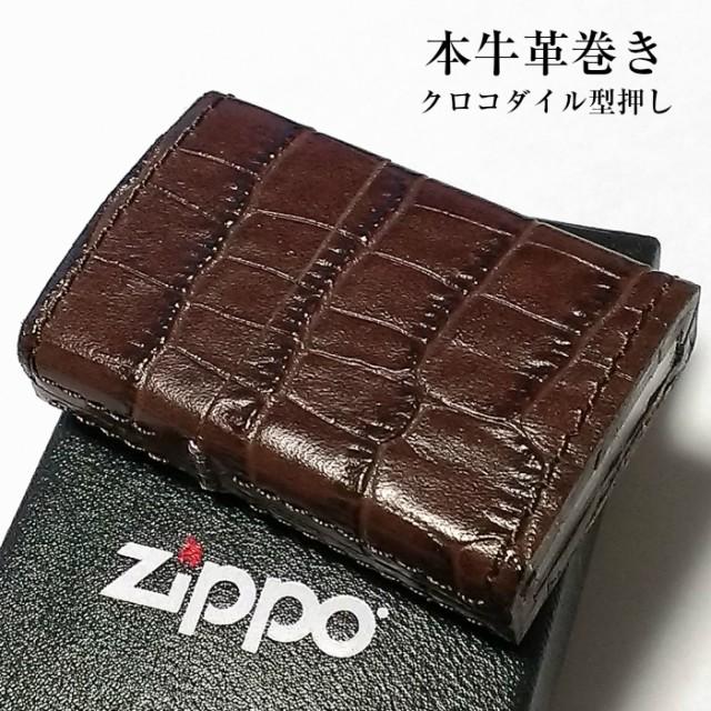 ZIPPO ライター 本牛革巻き ジッポ クロコダイル型押し ブラウン 全面 本革 かっこいい 黒 おしゃれ 皮 メンズ ジッポー ギフト