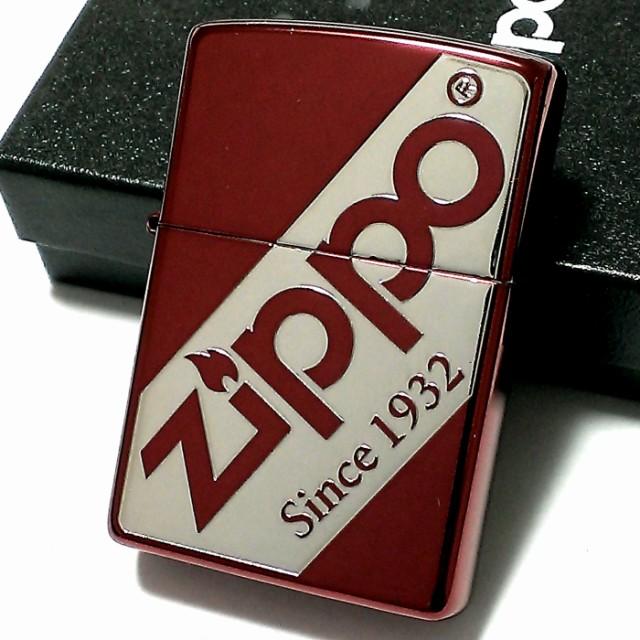 ZIPPO ライター ジッポ ロゴデザイン かっこいい レッド&シルバー 赤銀 メンズ おしゃれ ギフト プレゼント