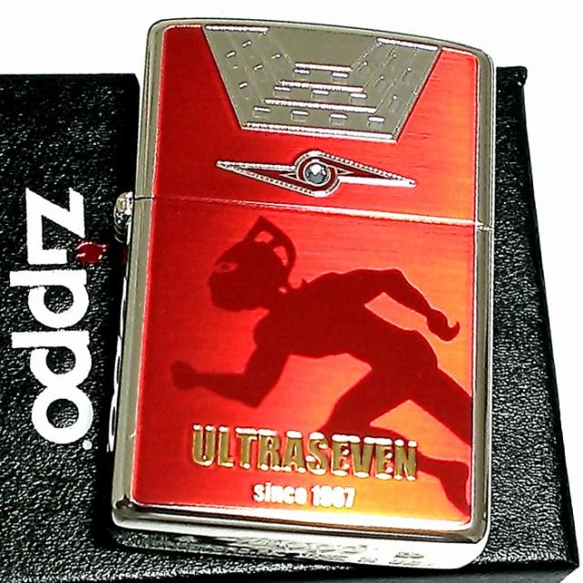 ZIPPO ライター ウルトラセブン ジッポ レッド&シルバー 裏面アイスラッガー かっこいい おしゃれ 赤銀 ラインストーン 円谷プロ