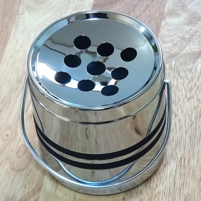 卓上灰皿 クロームライン2 手付きドラム灰皿 おしゃれ 灰皿 インテリア タバコ 雑貨 喫煙具 プレゼント ギフト メンズ