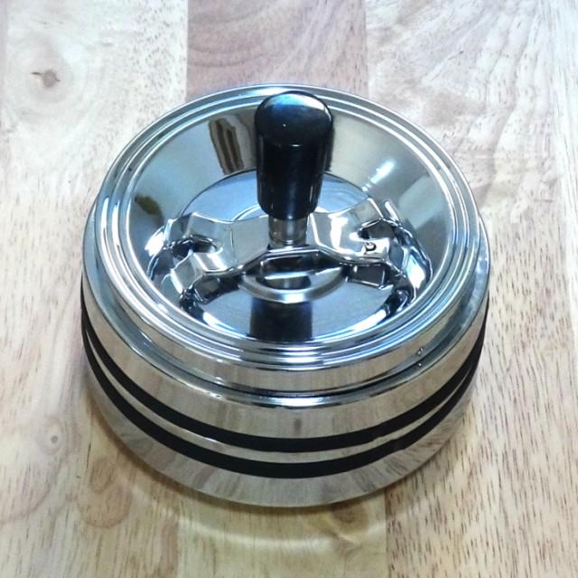 卓上灰皿 クロームライン2 回転灰皿 中 おしゃれ 灰皿 蓋付き インテリア タバコ 雑貨 喫煙具 プレゼント ギフト メンズ