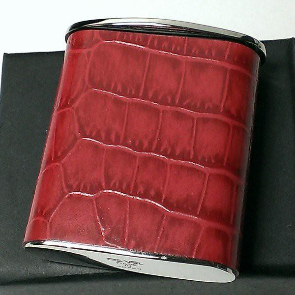 携帯灰皿 おしゃれ タスカ レッド レザー クロコ型押し 日本製 PEARL 牛本革 赤 国産 ブランド かわいい プレゼント かっこいい 屋外