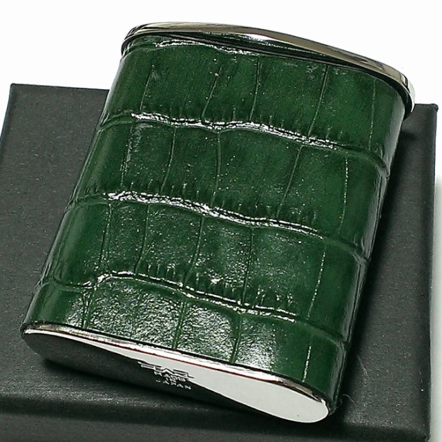携帯灰皿 おしゃれ タスカ グリーン レザー クロコ型押し 革巻き 日本製 PEARL 牛本革 緑 国産 ブランド かわいい プレゼント