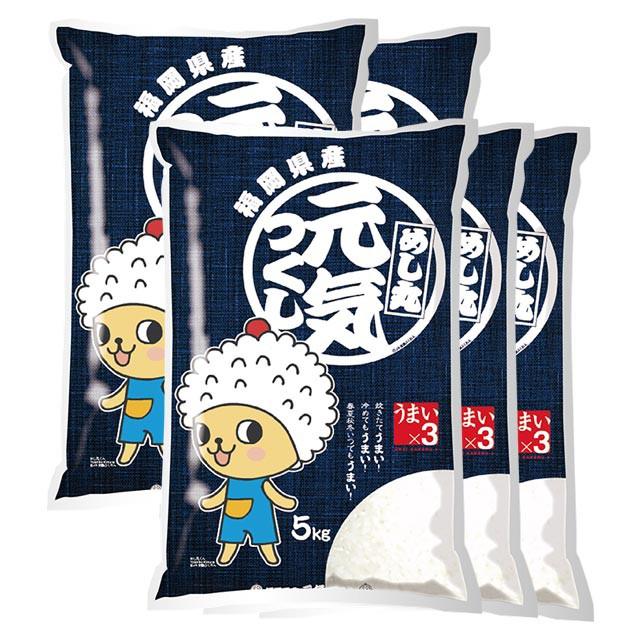 元気つくし 特別栽培米 25kg 送料無料 福岡県 令和元年産 (米/白米 5kg×5)
