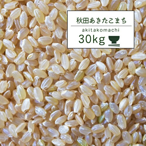 新米 米 30kg 秋田こまち 2年産 秋田県産 あきたこまち 玄米30kg【米30キロ】