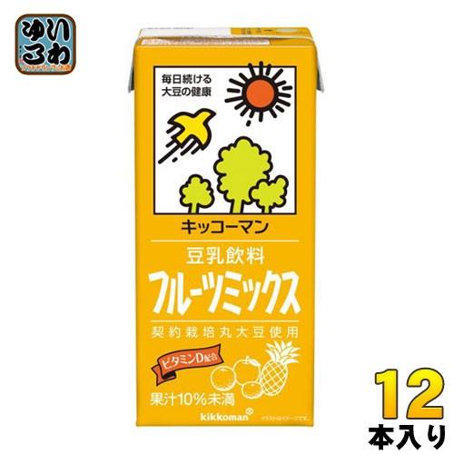 キッコーマン 豆乳飲料 フルーツミックス 1L 紙パック 12本 (6本入×2 まとめ買い)
