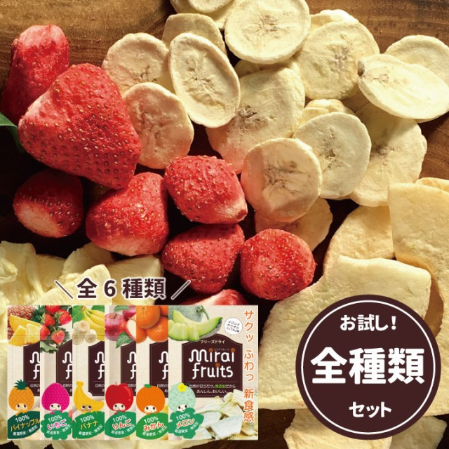 フリーズドライフルーツ mirai fruits ミライフルーツ いちご りんご バナナ パイナップル みかん メロン全6種類セット