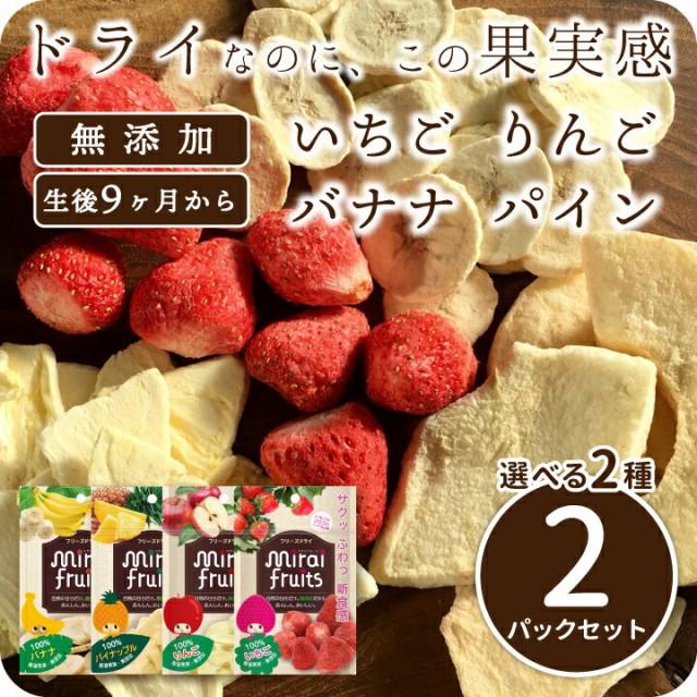 フリーズドライフルーツ mirai fruits ミライフルーツ 未来果実 いちご りんご バナナ パイナップル から選べる2パックセット