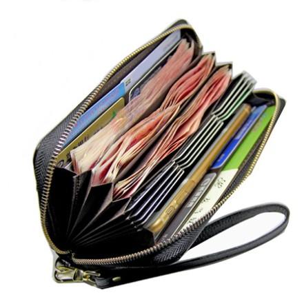 カードケース 長財布 本革 ラウンドファスナー 多機能財布  カード20枚 ストラップ付 58