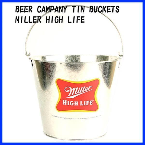 ビール カンパニー ティン バケツ Miller HIGH LIFE アメリカン雑貨 アメリカ雑貨 ガレージ雑貨 バー用品 リカー 酒