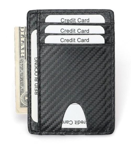 LAZA 高級 カーボンレザー カードケース ブラック メンズ ビジネス カジュアル 紳士 大量収納 カード入れ キャッシュレス時代のお供に