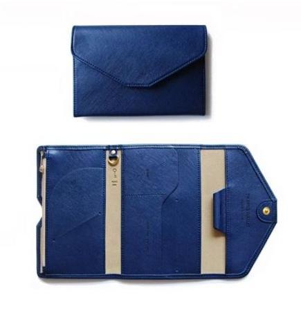 LAZA パスポートケース パスポートカバー ポーチ 旅行 トラベル 通帳ケース カードホルダー カード入れ 大容量 レザー 革 ブルー