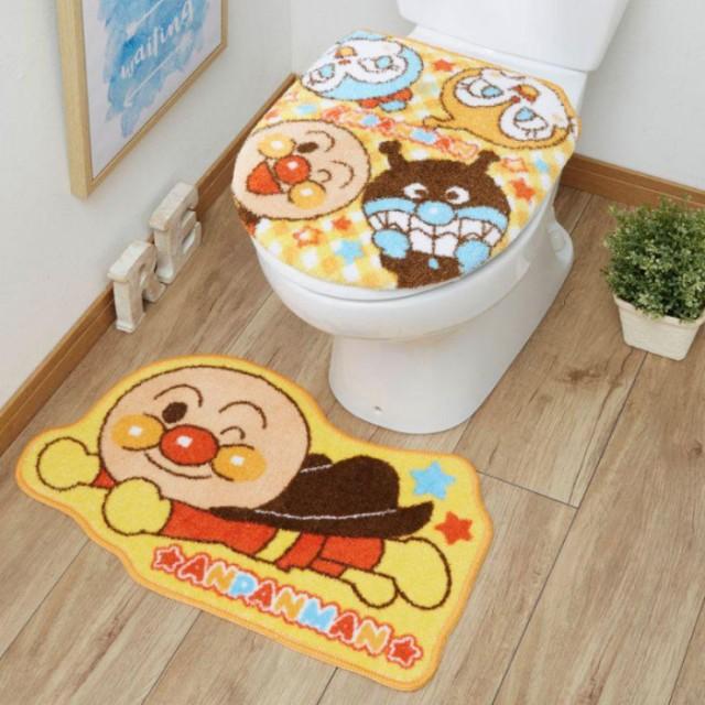 トイレ2点セット(洗浄・暖房便座用フタカバー&トイレマット) アンパンマン TO-35-A
