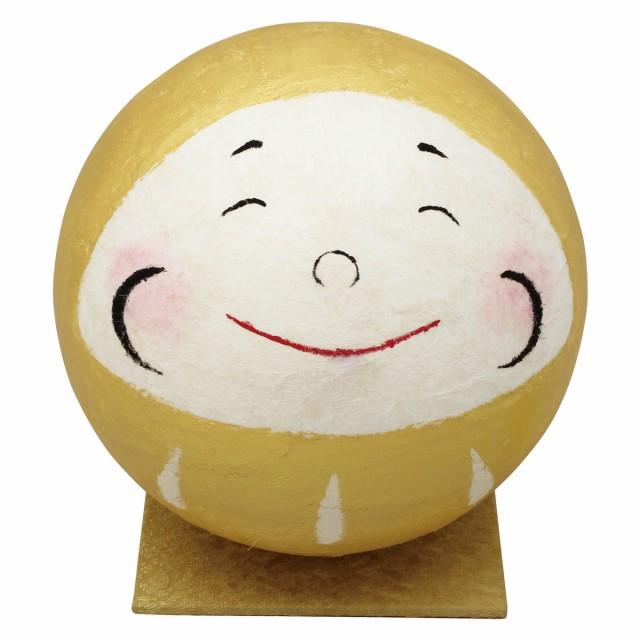 「金の大福ミニだるま 笑い目 敷物付」手作り和紙細工 和みの和雑貨 置物