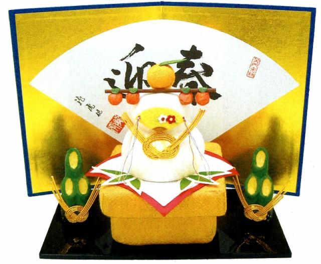 送料無料(沖縄・離島を除く)ちぎり和紙 鏡餅門松セット (大) 屏風付き 迎春・お正月飾り 和雑貨 リュウコドウ