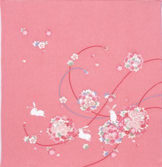 メール便 送料無料 花まりうざぎ二巾 レーヨンちりめん風呂敷(ふろしき) こよみ(68cm)