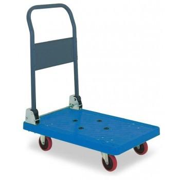 アイケーキャリー 樹脂製台車 スチール製無音キャスター付 P101NS (折り畳み式ハンドル) ブルー