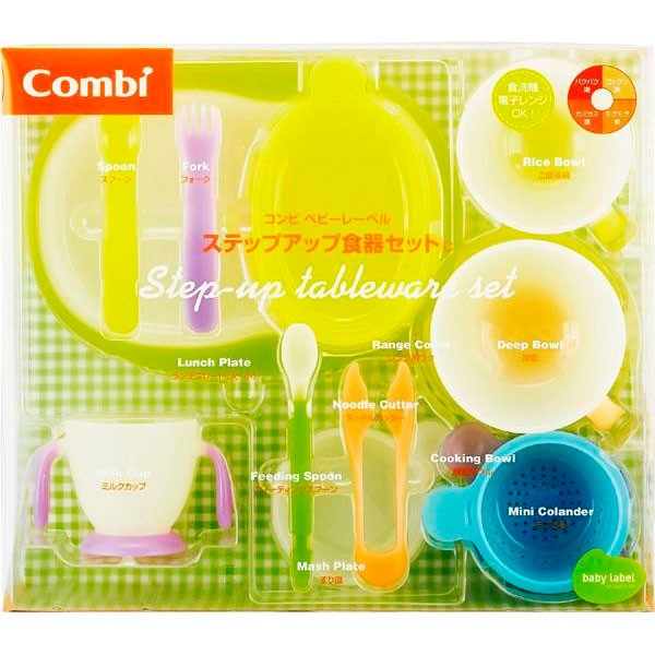 プレゼント 赤ちゃん 調理Combi(コンビ) ベビーレーベル ステップアップ食器セットCフォーク 子供 離乳食 便利 ギフト スプーン カッタ