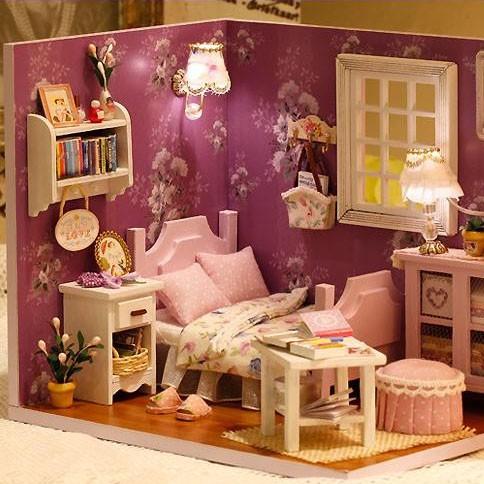 工作キット 雑貨 ドールハウスMore fun ワンルームシリーズ ミニチュアハウス手作りキット LEDライト付き ピンクルーム・H-002部屋