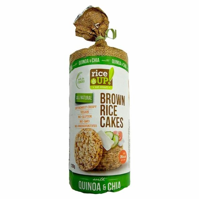 ノンフライ 添加物 カロリーrice UP(ライスアップ) ブラウンライスケーキ(米菓子) キヌア&チアシード 120g×12袋 3800233070033 M