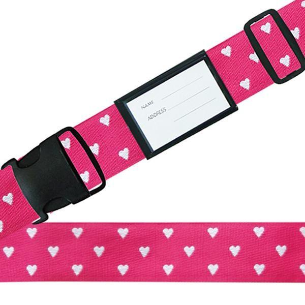 スーツケースベルト ワンタッチベルト ハートドット柄 ピンク
