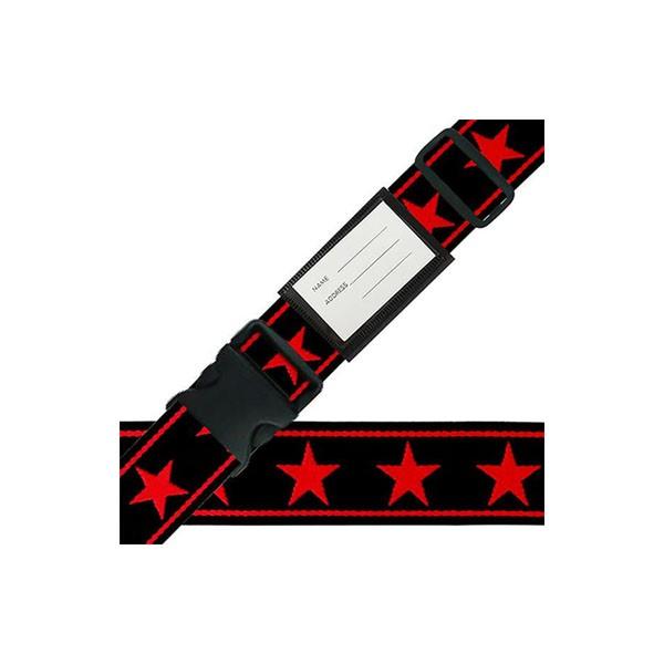 スーツケースベルト ワンタッチベルト ビッグスター柄 黒×赤