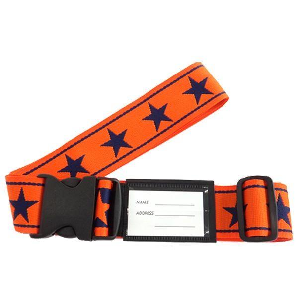 M スーツケースベルト ワンタッチベルト ビッグスター柄 オレンジ×紺