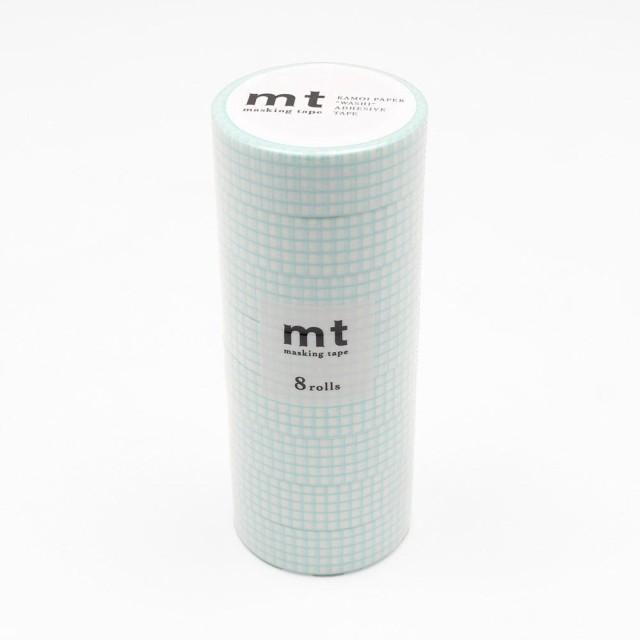 C mt マスキングテープ 8P 方眼・ミントブルー MT08D395