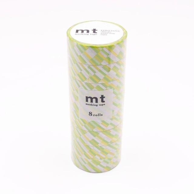 mt マスキングテープ 8P ブロックストライプ・グリーン MT08D439 C