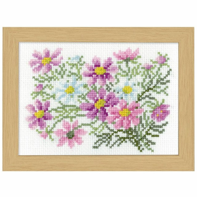 壁 手芸 刺繍オリムパス クロス・ステッチ刺しゅうキット 12ヶ月の花フレーム 9月コスモス 7516アート 装飾 ハンドメイド 手作り 裁縫