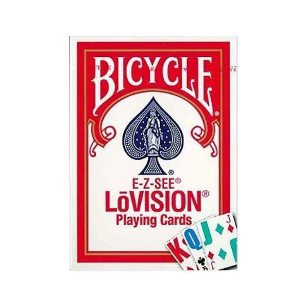【同梱・代引き不可】トランプ マジック ゲームプレイングカード バイスクル ロービジョン 赤(弱視者用) PC125A手品 文字大きい おもち