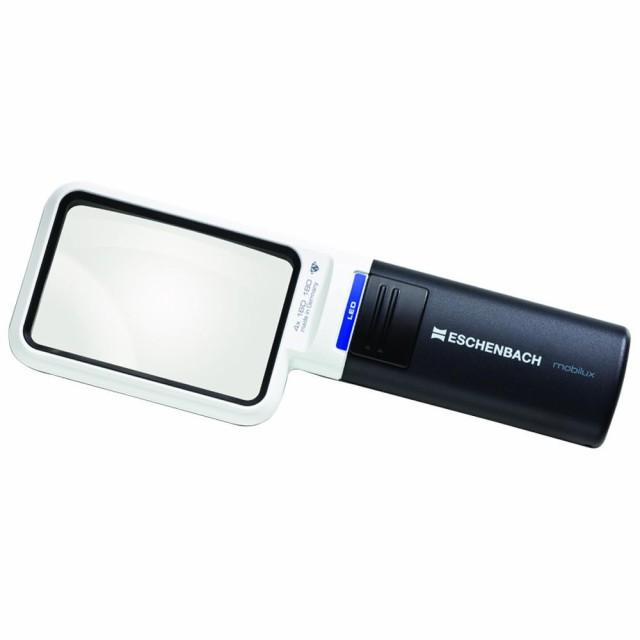 持運び 携帯 ポータブルエッシェンバッハ LEDワイドライトルーペ (4倍) 角型 1511-4ライト付 コンパクト 拡大鏡 4x 非球面レンズ