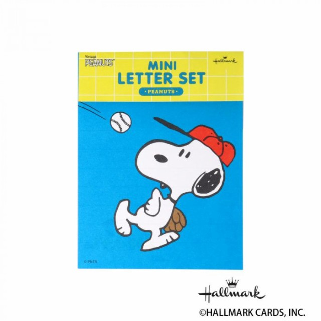 Hallmark ホールマーク スヌーピー 便箋封筒セット ミニセット ブルーベースボール 6セット 771294 M