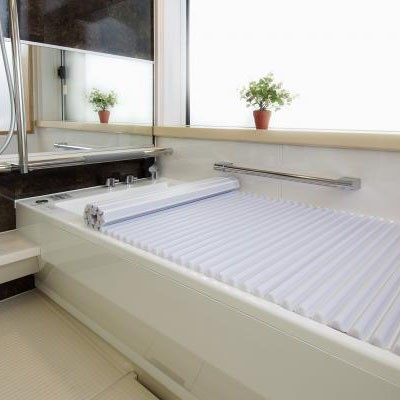 【同梱・代引き不可】シャッター ブルー 浴槽イージーウェーブ風呂フタ 70×130cm用 ホワイト巻きフタ ウェーブ状 収納 掃除 折りたた