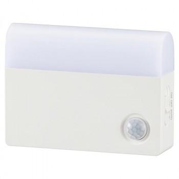 OHM LEDセンサーライト 明暗+人感 屋内用 40lm 電池式 NIT-BLA6JK-WL
