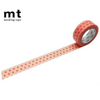 【同梱・代引き不可】マスキングテープ mt 8P 麻の葉・赤橙 幅15mm×7m 同色8巻パック MT08D470