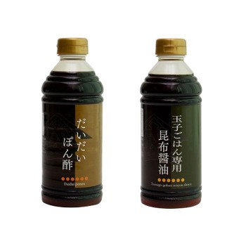 M 橋本醤油ハシモト 500ml2種セット(だいだいポン酢・玉子ごはん専用昆布醤油各10本)