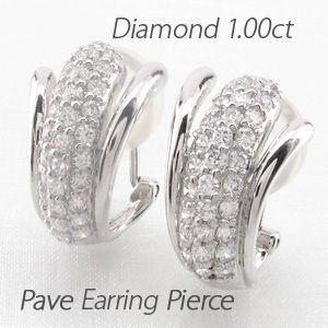 ダイヤモンド イヤリング レディース クリップ ピアス プラチナ 900 パヴェ 1.00ct